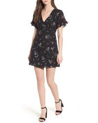 Lush - Black Button Front Skater Dress - Lyst
