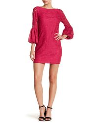 Laundry by Shelli Segal - Multicolor Puff Sleeve Lace Shift Dress - Lyst
