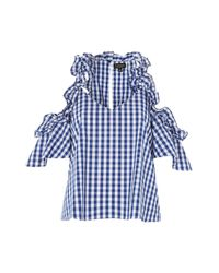 TOPSHOP - Blue Gingham Cold Shoulder Top - Lyst