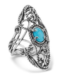 Carolyn Pollack - Multicolor Sterling Silver Turquoise Oval Filigree Ring - Lyst