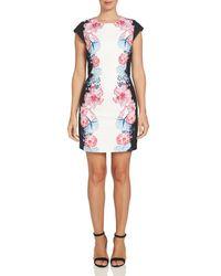 Cece by Cynthia Steffe | Black Colorblock Floral Sheath Dress | Lyst