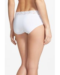 Wacoal - White Cotton Suede Lace Trim Hipster Briefs - Lyst