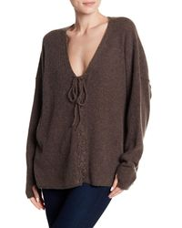 Wildfox - Brown Front Lace-up Cashmere Sweater - Lyst
