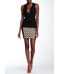 Rag & Bone - Black Elaine Chevron Inset Knit Skirt - Lyst