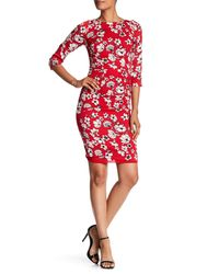 Tracy Reese | Red Floral Silk-blend Crepe Dress | Lyst