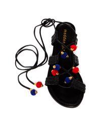 Madden Girl | Black Baliee Pompom Sandal | Lyst