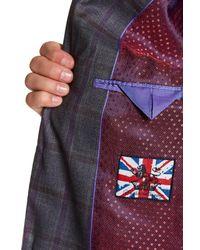 English Laundry - Gray Windowpane Two Button Peak Lapel Trim Fit Suit for Men - Lyst
