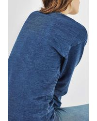TOPSHOP - Blue Denim Patchwork Sweater - Lyst