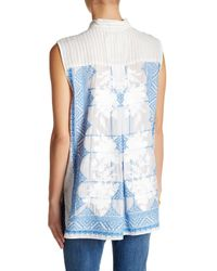 Johnny Was - Blue Sleeveless Embroidered Button Up Top - Lyst