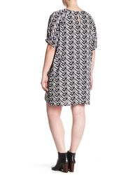 Bobeau - Black Dolman Printed Wedge Dress (plus) - Lyst