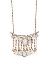 Jenny Packham - Metallic Tiered Pave Bar & Faceted Stone Pendant Necklace - Lyst
