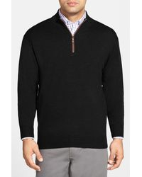 Peter Millar - Black Leather Trim Quarter Zip Pullover Wool Sweater for Men - Lyst