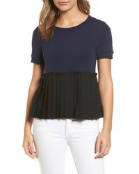 Halogen - Black Pleat Peplum Tee (petite) - Lyst