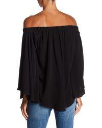 Fifteen Twenty - Black Flare Sleeve Off The Shoulder Blouse - Lyst