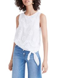 Madewell - White Embroidered Side Tie Tank - Lyst