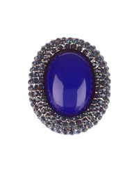 Kenneth Jay Lane | Multicolor Pave Oval Stone Ring | Lyst