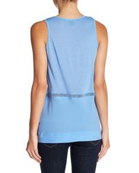 French Connection - Blue Sleeveless Knit Trim Tank - Lyst