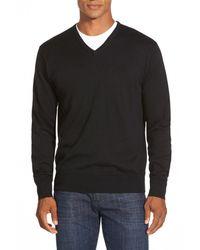 Peter Millar - Black Silk Blend V-neck Sweater for Men - Lyst