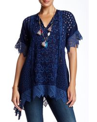 Johnny Was | Blue Laura Embroidered Velvet Tunic | Lyst