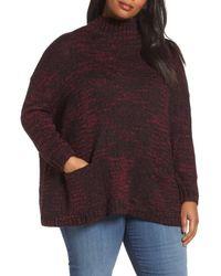 Sejour - Multicolor Mock Neck Knit Sweater (plus Size) - Lyst