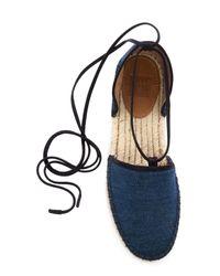 Frye - Blue Leo Ankle Wrap Espadrille Flat - Lyst