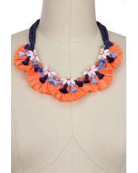 Saachi - Orange Fiesta Mother Of Pearl Beaded Raffia Tassel Statement Necklace - Lyst