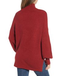 French Connection Red Orla Flossy Balloon Sleeve Sweater