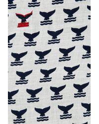 Tory Burch - Blue Whaletail Oblong Tassel Trim Scarf - Lyst