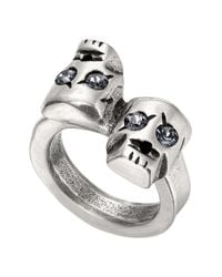 Uno De 50 - Gray Are You Talking To Me? Swarovski Crystal Accented Skull Ring - Lyst