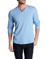 Lucky Brand | Blue Lived-in Henley for Men | Lyst