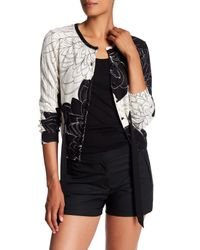 Tracy Reese   Black Print Belted Cardigan   Lyst