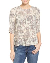 Lucky Brand - Natural Button Back Ruffle Hem Print Shirt - Lyst