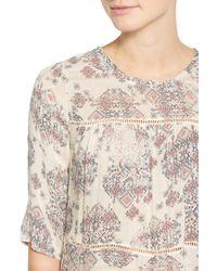 Lucky Brand - Natural Button Back Ruffle Hem Print Shirt - Lyst