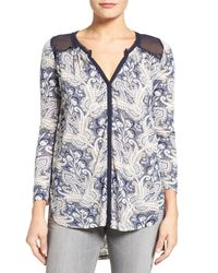 Lucky Brand   Blue Paisley Contrast Knit Blouse   Lyst