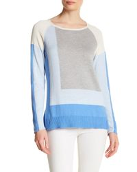 In Cashmere | Blue Colorblock Hi-lo Sweater | Lyst