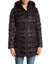 Vince Camuto | Black Packable Hooded Duck Down Zip Up Quilted Jacket | Lyst