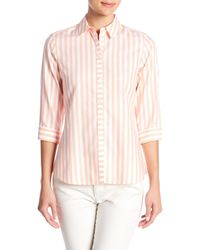 Foxcroft - Pink Ava Striped Shirt - Lyst