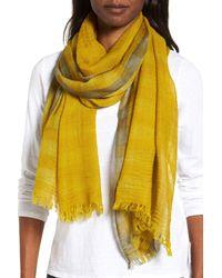 Eileen Fisher - Yellow Plaid Wool Scarf - Lyst
