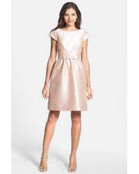 Alfred Sung - Pink Woven Fit & Flare Dress - Lyst