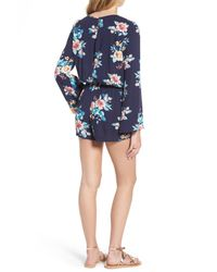 Mimi Chica - Blue Floral Bell Sleeve Romper - Lyst