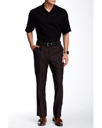 BOSS - Brown Sharp Flat Front Solid Wool Trouser for Men - Lyst
