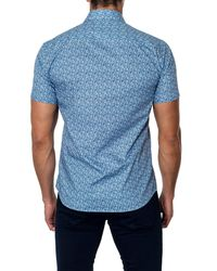 Jared Lang - Blue Woven Printed Short Sleeve Trim Fit Shirt for Men - Lyst