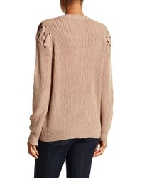Dreamers By Debut - Multicolor Lace-up Cold Shoulder Sweater - Lyst