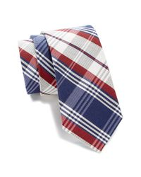 Tommy Hilfiger - Red Silk Big Plaid Tie for Men - Lyst