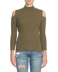 1.STATE   Green Cold Shoulder Mock Neck Sweater   Lyst
