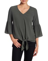 Pleione - Green Ruffle Sleeve Tie Front Top - Lyst