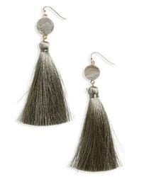 Panacea - Multicolor Sunstone Drusy Tassel Earrings - Lyst