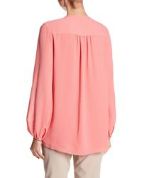 Ellen Tracy - Pink Shirred Neck Blouse - Lyst
