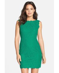 Adrianna Papell - Green Boatneck Lace Sheath Dress - Lyst