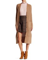 Lands' End - Brown Long Wool Blend Cardigan - Lyst